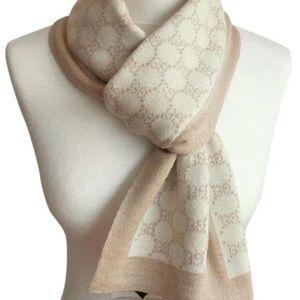 Gucci GG 100% Wool Beige/White Polina Scarf#421068